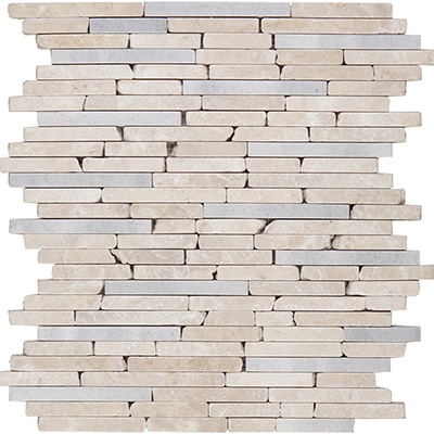 1xRandom Brick Mosaic Beige Tumbled / Polished