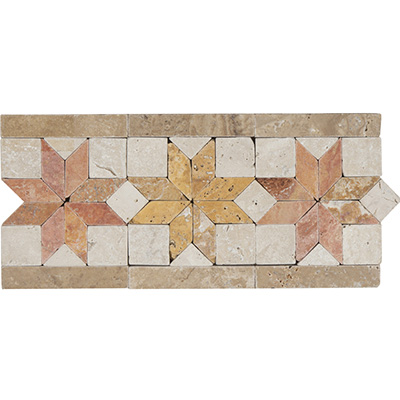 15x33.2 Rustic Star Yellow Border Tumbled
