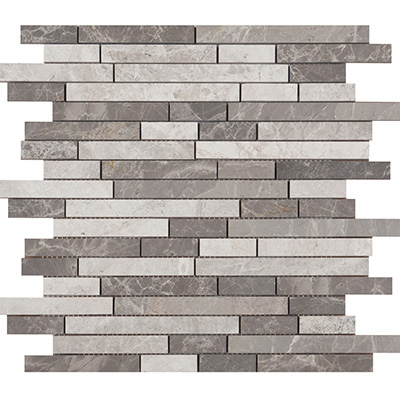 1xRandom Grey Blend Brick Mosaic Polished