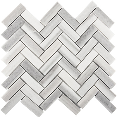 2.3x10 Skyfall Herringbone Mosaic Polished