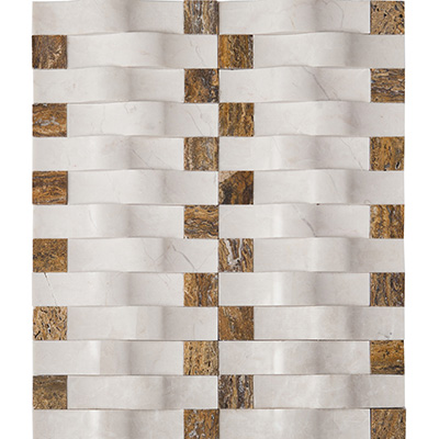 1.5x7.5 Camber Basket Weave Ice Mosaic Honed
